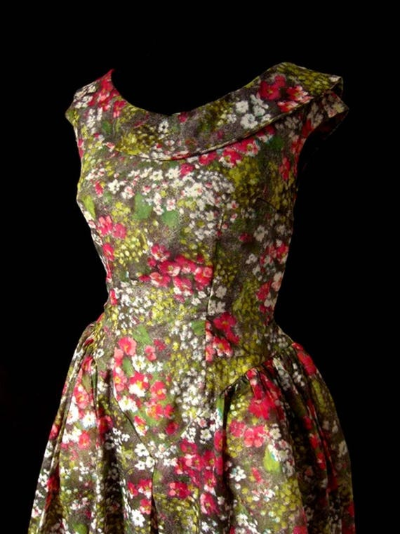 1980s Floral Puff Ball Dress - image 6