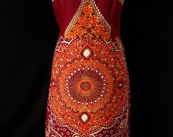 Vintage 1960s African Batik Burgundy & Patterned Summer Dress