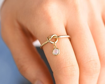 Bridesmaid gift, Love Knot Ring, Bridesmaid rings, Maid of Honor Gift, Friendship Ring, Thin Gold Ring, Birthstone ring, Tie the knot gift,