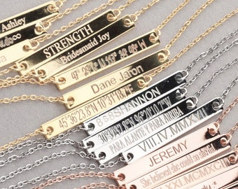 Personalized Necklace,Roman Numeral Necklace,Wedding Date Necklace,Bridesmaid Gift,Bar Necklace,Custom Name Necklace,Bridesmaid Necklace
