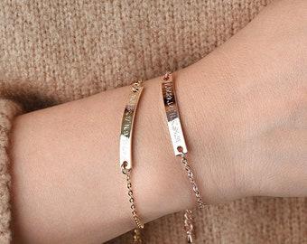 Personalized bracelet,Custom bar bracelet,Gold bar bracelet,Rose Gold Bar Bracelet, Best friend gift,  jewelry,Bridesmaid Gifts,ID bracelet
