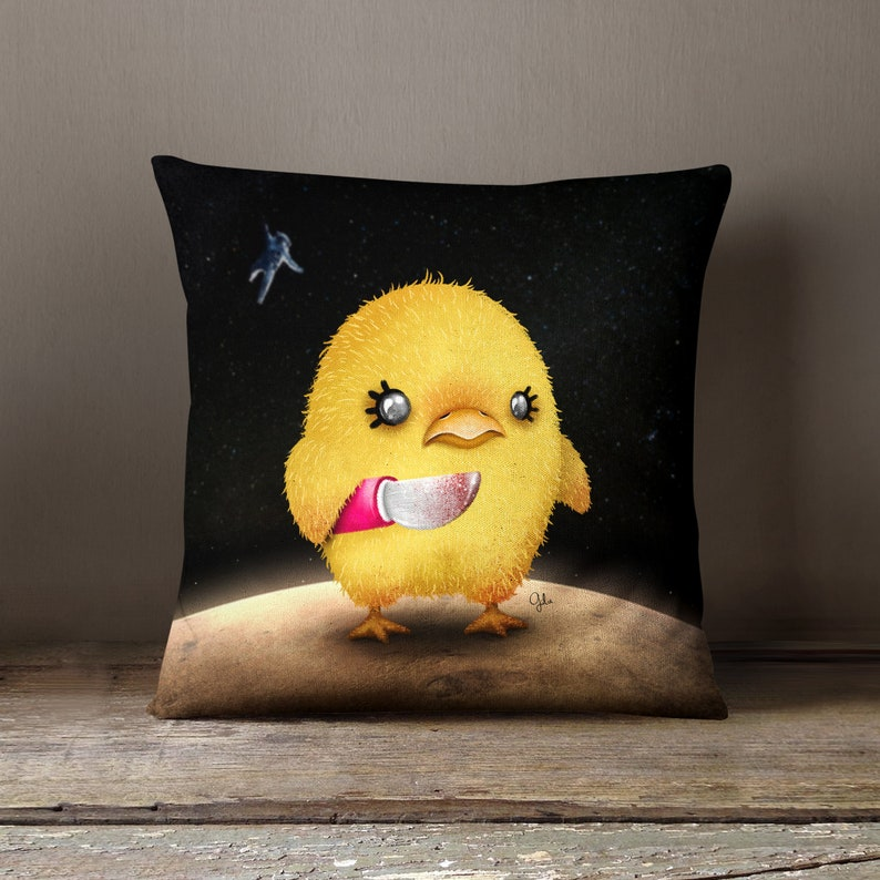 Unique Bedding Gift  Crazy Chick  PILLOW by Gulce Baycik  image 0