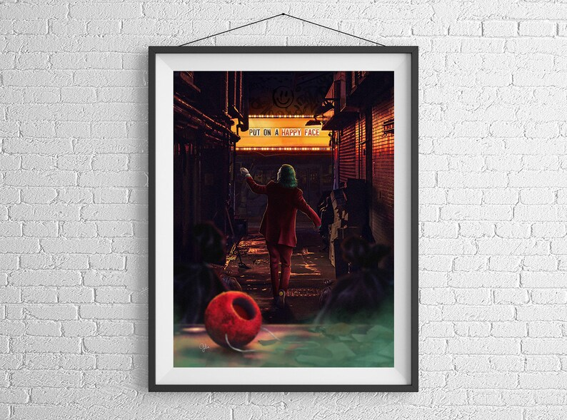Joker  Put on a Happy Face  Giclée Poster Art Print by Gülce image 0