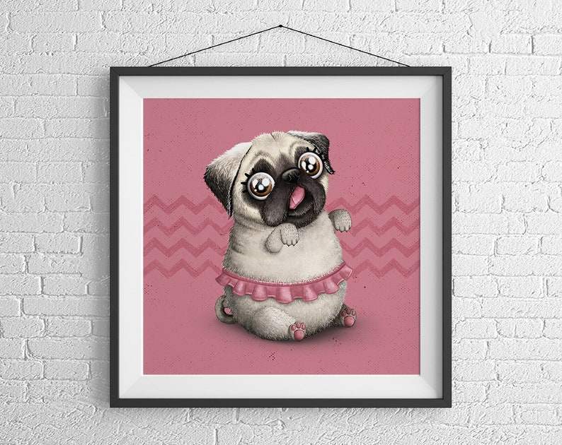 Poster Gift  Cute Pug  Giclée Art Print by Gulce Baycik  image 0