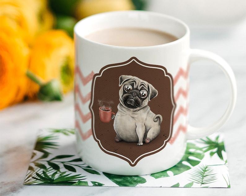 Mug Gift  Coffee Pug  Themed Mug  Novelty Mugs  Birthday  image 0