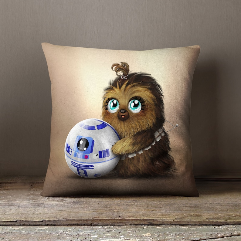 Star Wars  Lil' Chewie & R2D2  PILLOW by Gülce Baycık  image 0