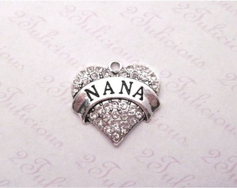 NANA, Heart, Crystal, PENDANT, GRANDMA, Grandmother, Family, Charm, antique silver, jewelry