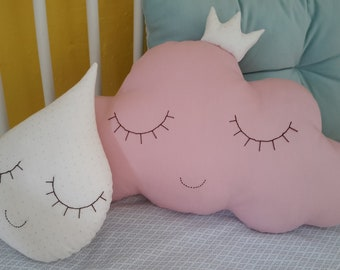 Set of cloud cushions and drops. Baby gift. Newborn baby party.Baby shower.