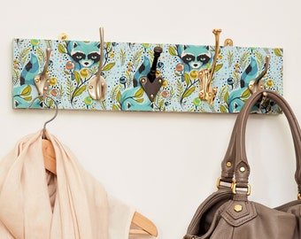 7b09290169 Raccoon Patterned Mismatched Coat Rack with Three or Five Hooks
