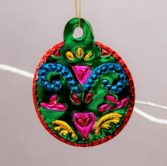 Mexican Tin Bauble Decorations Set Mexican Tin Metal Etsy