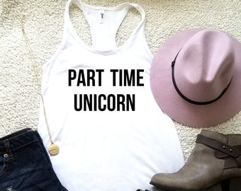 Part time unicorn tank top for women girls ladies graphic tees funny graphic shirt, tank top for women, tank tops with sayings