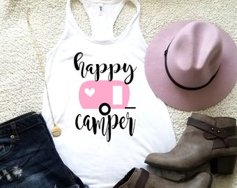 Happy camper tank top in racerback tank top for women funny graphic shirt instagram tumblr gift