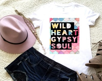 Wild heart gypsy soul graphic t-shirt available in size s, med, large, and Xl for women graphic shirt women