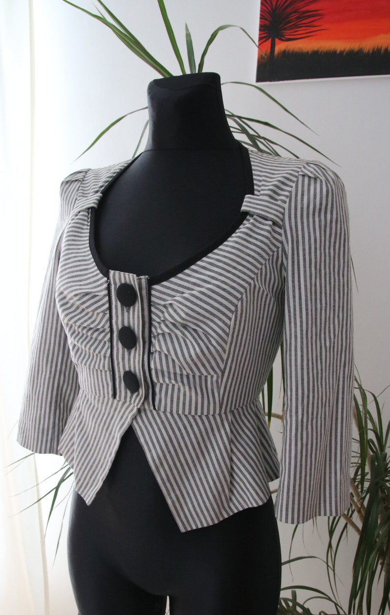 woman size 6 jacket striped vintage jacket wasp waist, basque