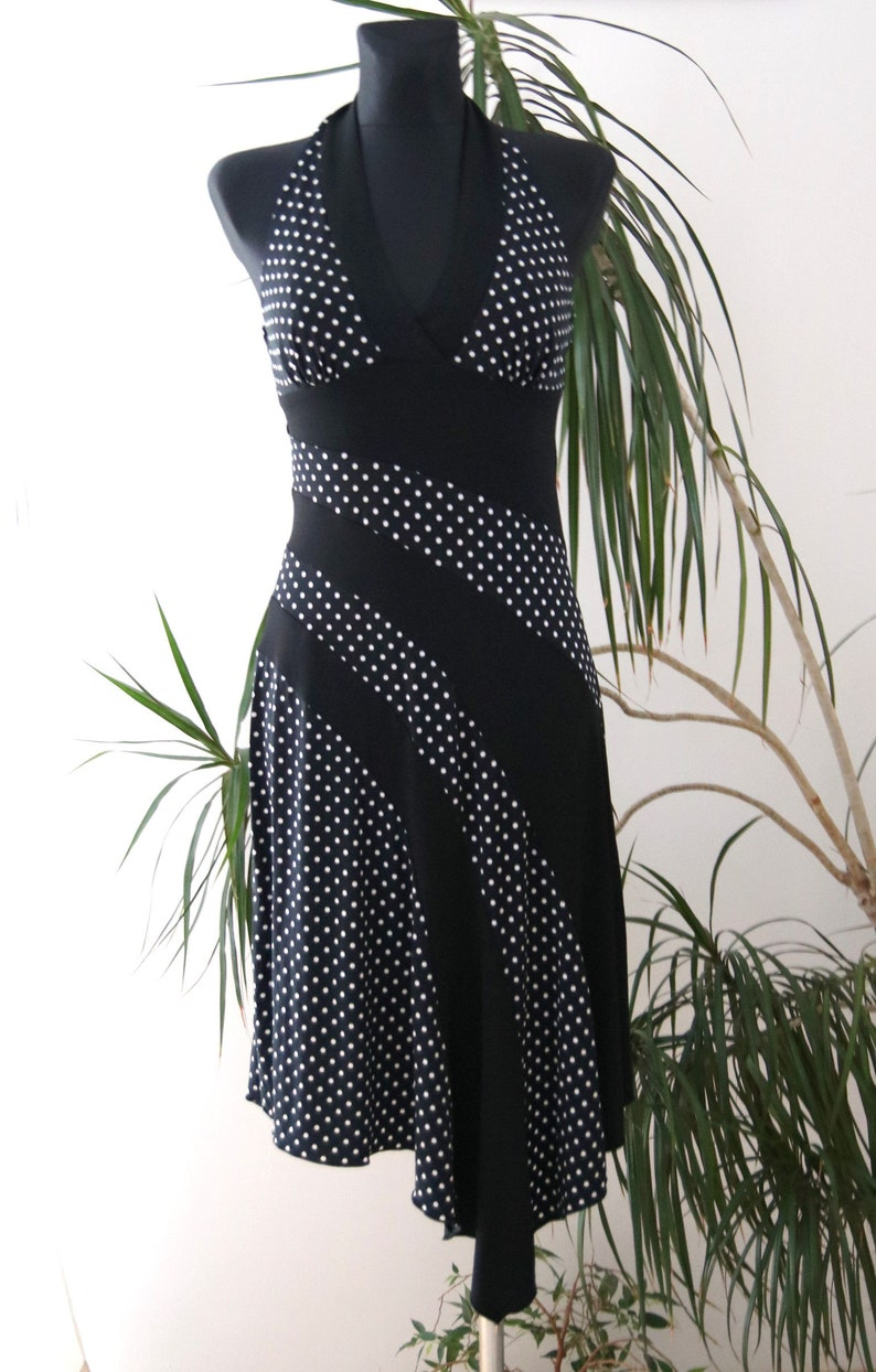 size 38 Polka dot dress black tied around the neck in the style of Marilyn Monroe frill asymetrial dress white,Polka dot dress woman