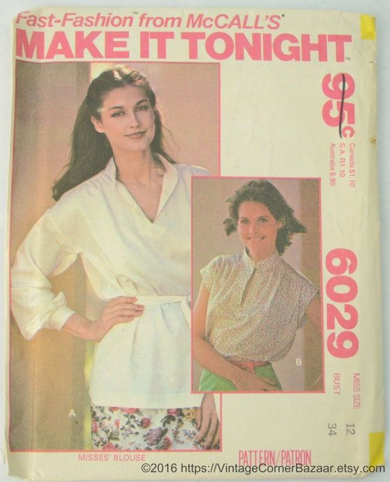 Mccalls 6029 Pattern Misses Blouse Sewing Pattern Etsy