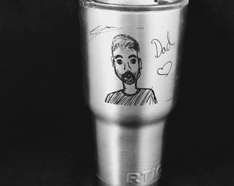 Your Child's Artwork 30 oz Laser Engraved Rtic Tumbler Free Shipping Kids