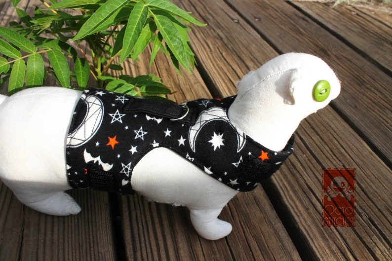 Moon and Star Halloween XXXS Ferrets  Small Pet Harness Made to Order