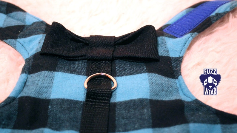 Dog Cat Harness Small Bowtie Blue Plaid Costume MADE TO ORDER