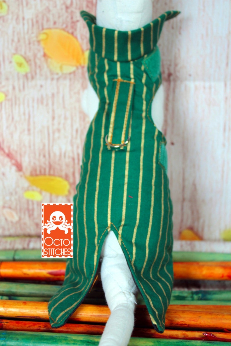 Forest Green and Gold Coat Made to Order XXXS Small Pet  Ferret Harness