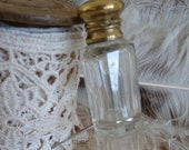 Victorian clear glass scent bottle with hinged gold coloured lids. Vintage perfume bottle. Antique scent bottle. Vintage scent bottle