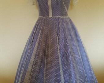 Polka dot tea length tulle dress, fifties style dress, tea length wedding dress, 50's dress, prom dress, bridesmaids dress,50's style dress