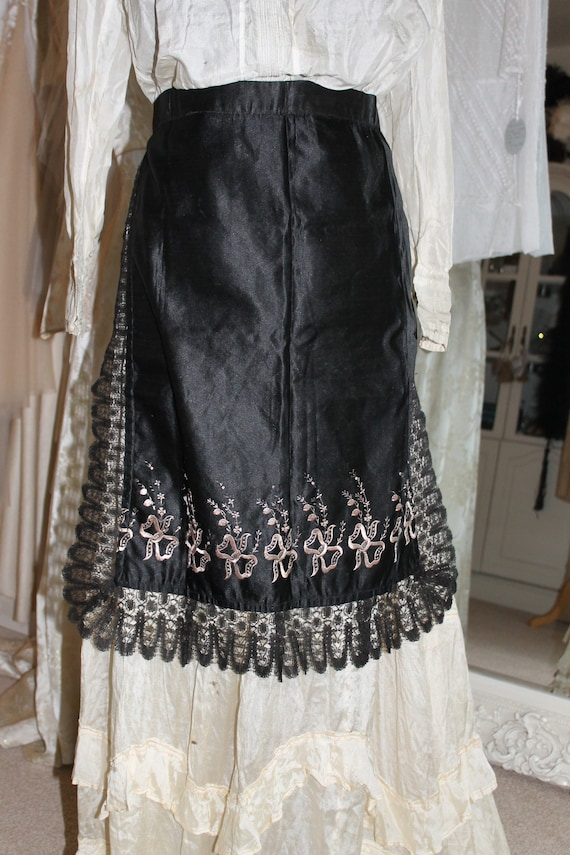 Victorian Black and gold embroidered satin apron w