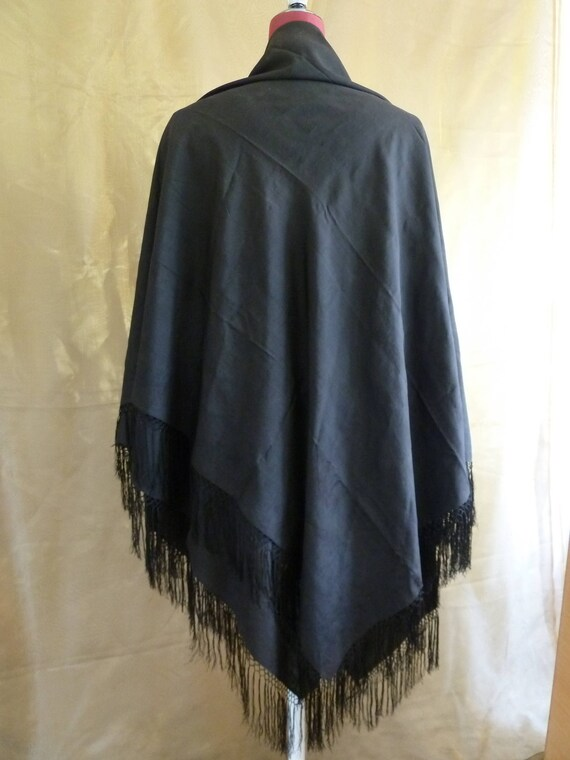 Large Antique Victorian black fringed silk piano s