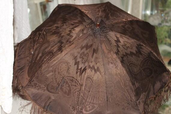 Victorian brown damask dark wood folding carriage