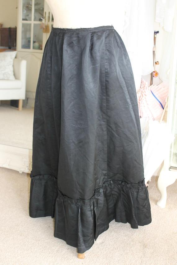Victorian black satin skirt probably an underskirt