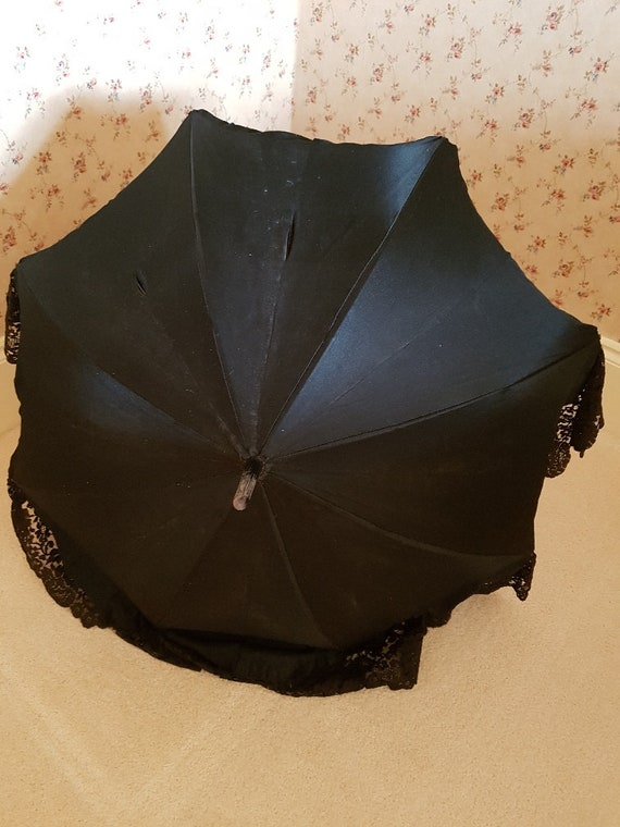 Antique Edwardian black satin and lace fully lined