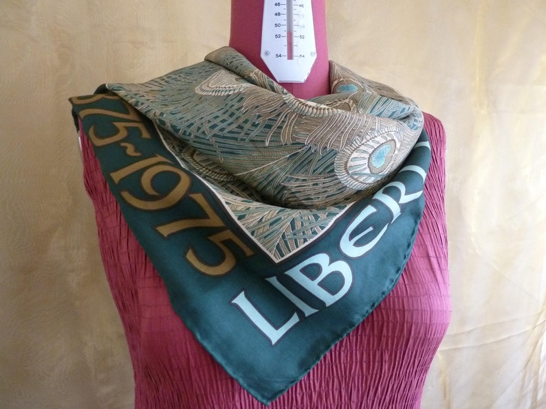 0a68c96257d20 Vintage green silk Liberty of London centenary scarf 1875 | Etsy