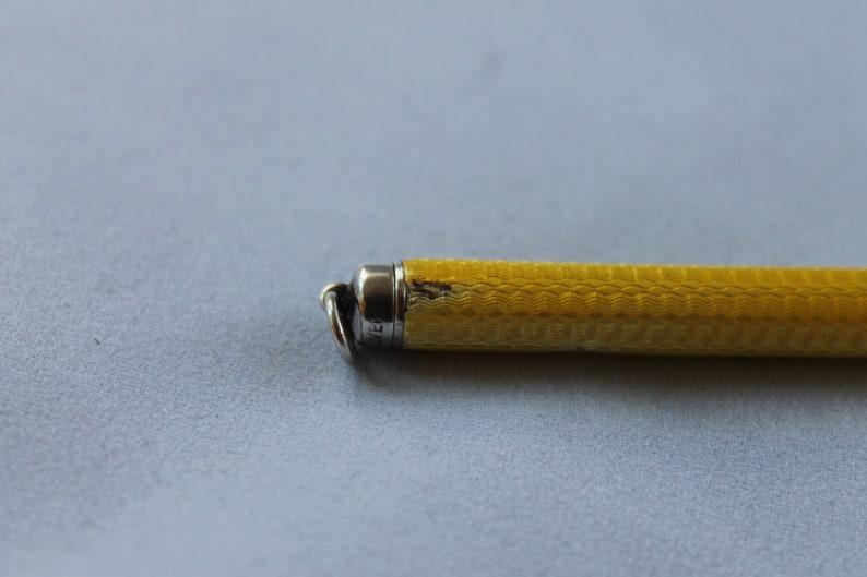 antique 1920/'s small pocket size retracting pencil Art Deco silver and  yellow Guillioche enamel pencil ladies vintage 20/'s handbag pencil