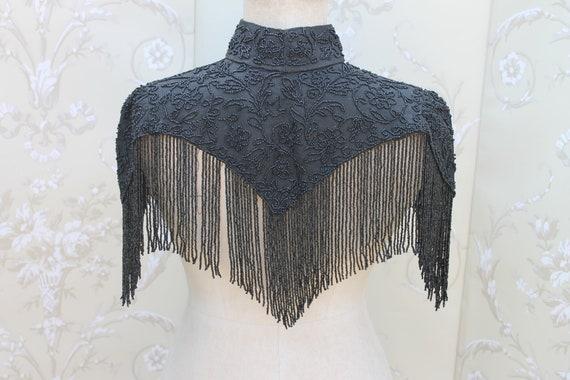 Antique Victorian black bead encrusted cape, Victo