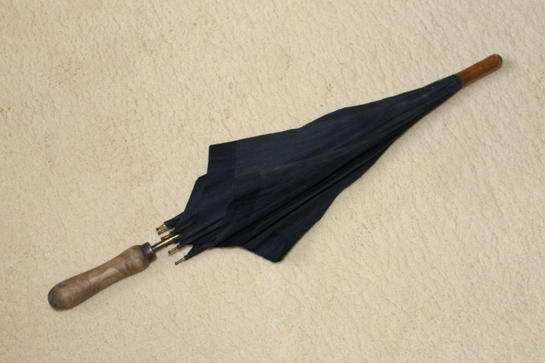 Gothic umbrella Black parasol Steampunk parasol Costume prop Late 19th century black umbrella Paragon by S Fox and Co Walking stick