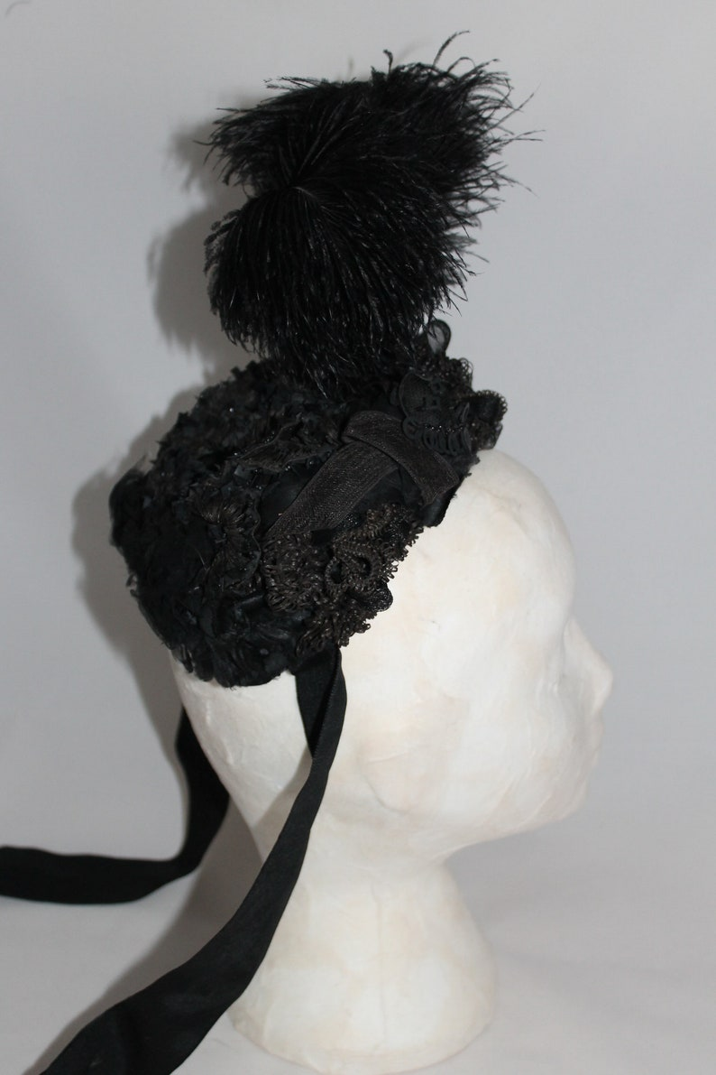 a30d5bb5c Antique Victorian ladies black hat feather and sequined | Etsy