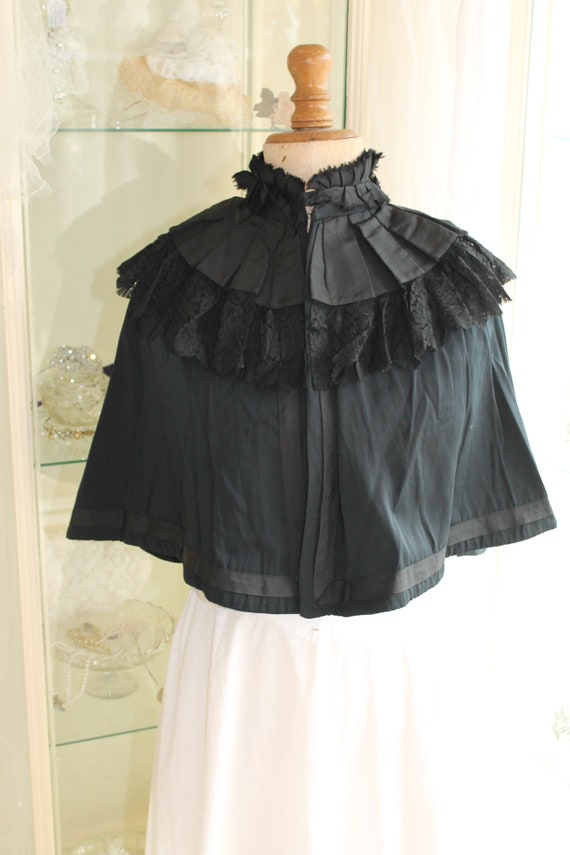 Short black Victorian cotton and lace shoulder cap