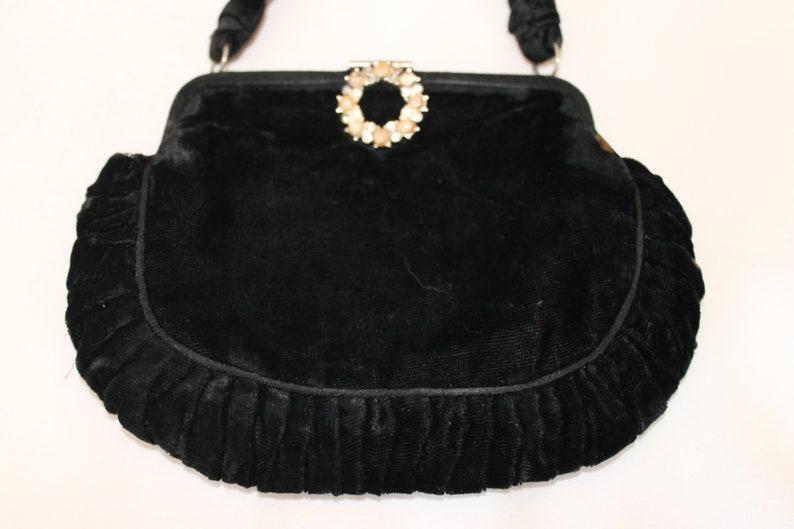 2f84c854533 Vintage black velvet handbag made in Britain with diamante | Etsy