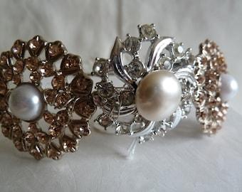 Wedding tiara, Vintage silver and pink/peach diamante and pearl bridal tiara. Vintage hair accessory.  Crystal tiara. Vintage  tiara.