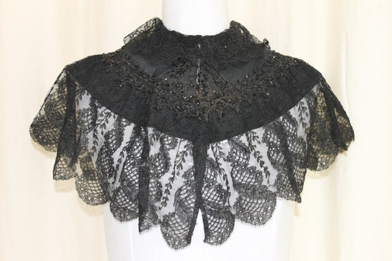 Antique Victorian black cloak, lace and jet beaded
