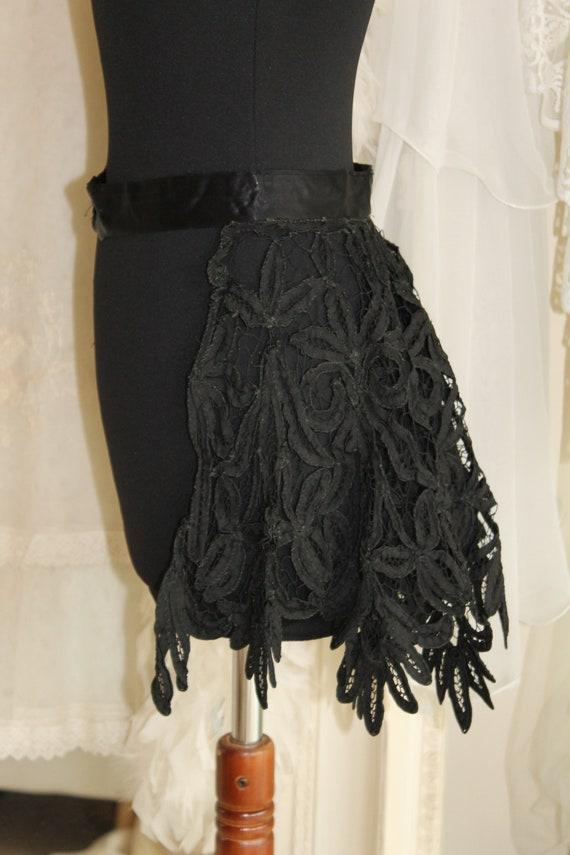 Antique black corded edge Victorian tape lace skir