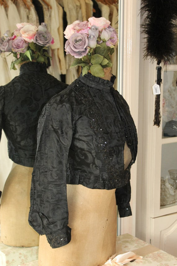 Victorian black silk damask pleated bodice decorat