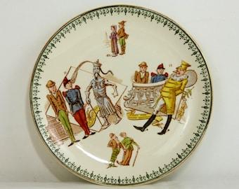 Antique CHOISY LE ROI faience dessert plate - humorous historic international politics - French late 1800s vintage