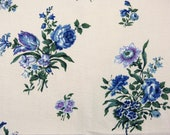 Floral fabric BOUSSAC ROMANEX pair of curtain panels valance - shabby mid century floral cotton - blue spring flowers - French 60s vintage