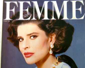 FEMME women's fashion magazine - February 1990 ready-to-wear & Fanny Ardant special - French 90s vintage