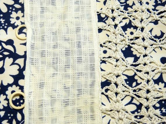 Cantonnière rideau dentelle crochet coton carreaux pompons