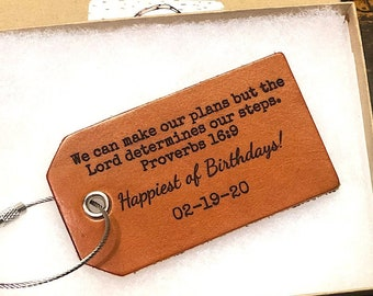 Proverbs 16 We can make our plans but the lord determines our steps Spiritual Gift Birthday Gift Mission Trip Scripture Luggage Tag