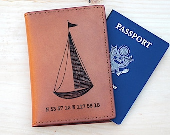 Sailboat Travel Holiday in Europe, Sailboat Trip, Leather Passport wallet, Passport Cover, Newlywed Gift idea, For Honeymoon, Passport Case