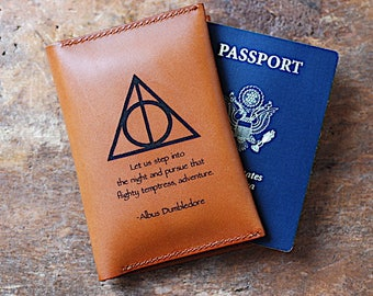 Harry Potter, Passport Cover, Leather Travel Wallet, Albus Dumbledore Quote, Deathly Hollows Symbol, Gift For Graduation, For Best Friend