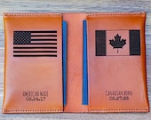 Naturalization Citizenship Gift, Canadian Dual Passport Holder, New American Citizenship, Double Passport Cover Canada, Leather,